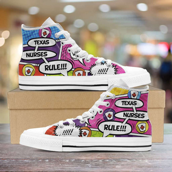 Lady's Comic Book Texas Nurse Canvas High Tops