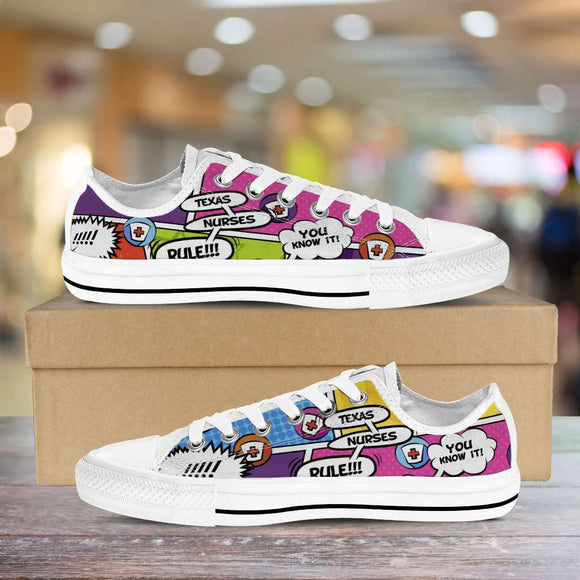 Lady's Comic Book Texas Nurse Canvas Low Tops