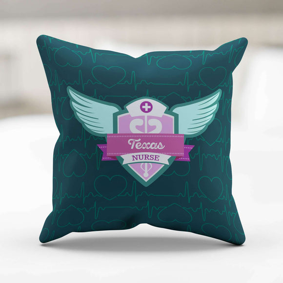 Green Texas Nurse Throw Pillow - GreatGiftItems.com