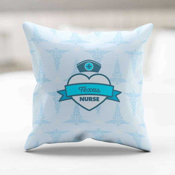 Blue Texas Nurse Throw Pillow - GreatGiftItems.com