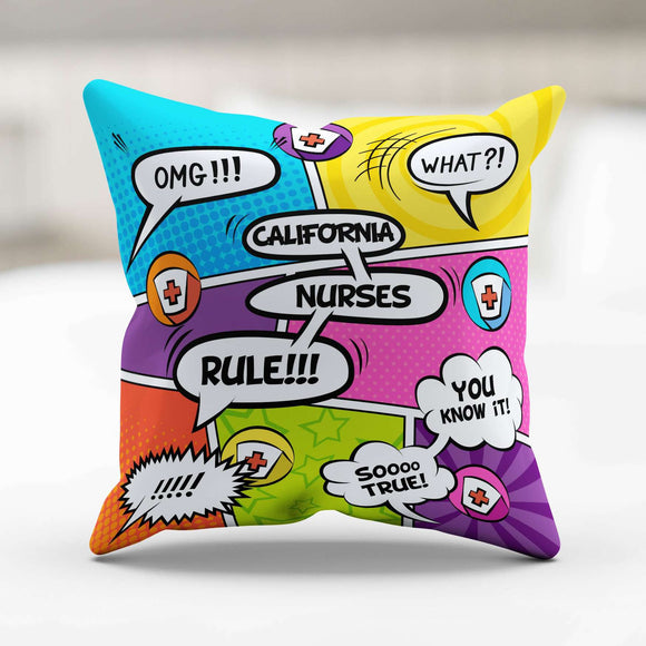 Comic Book California Nurse Throw Pillow - GreatGiftItems.com