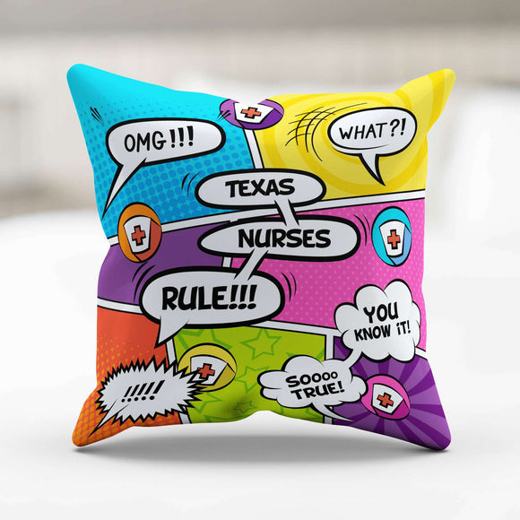 Comic Book Texas Nurse Throw Pillow - GreatGiftItems.com