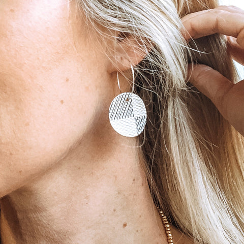 Upcycled Damier Azur Disc Earrings