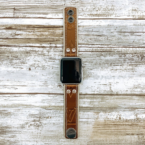 Limited Edition Upcycled LV Copper Vernis Skinny Apple Watch Band