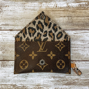 Limited Edition Upcycled Monogram Wallet Lined with Leopard