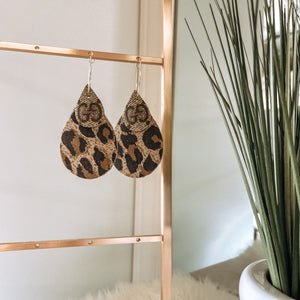 Upcycled GG Teardrop Earrings with Leopard Backing