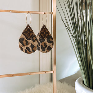 Upcycled LV Teardrop Earrings with Leopard Backing