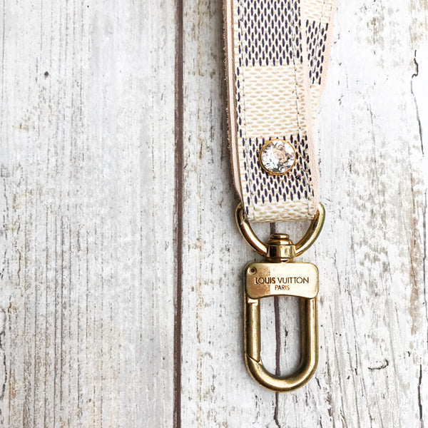Limited Edition Upcycled LV Damier Azur Lanyard