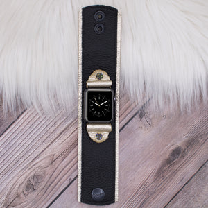 Ready to Ship Upcycled LV Monogram Apple Watch Bow Band Lined in Leopard in XS/S 40/42mm
