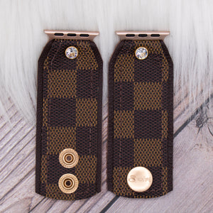 Ready to Ship Upcycled LV Monogram Skinny Apple Watch Band lined in leopard in M/L 38/40mm