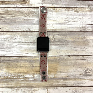 Limited Edition Upcycled LV Red Denim Apple Watch Skinny Band