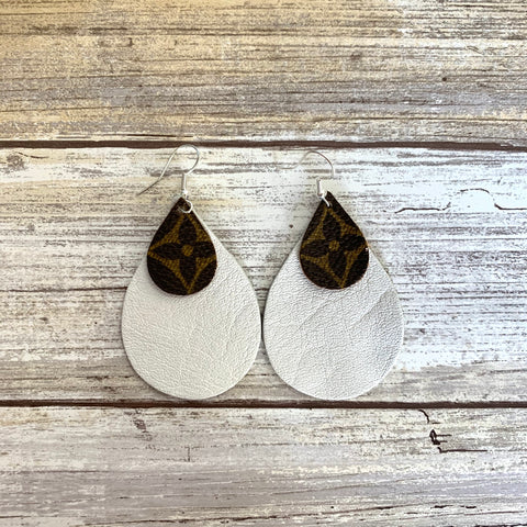 Upcycled LV Teardrop Earrings with White Leather Backing