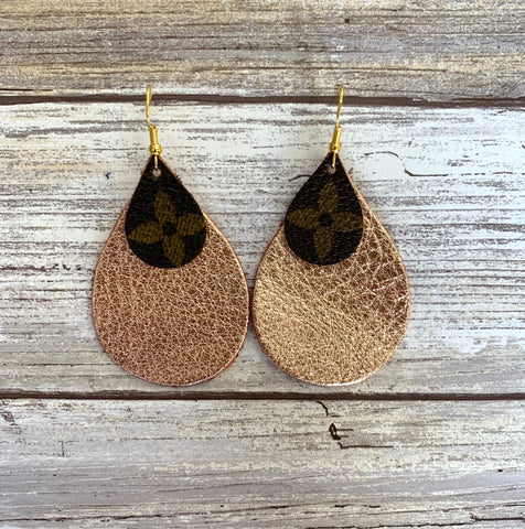 Upcycled LV Teardrop Earrings with Rose Gold Leather Backing