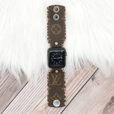 Upcycled LV Monogram Apple Watch Bow Band With Leopard Lining