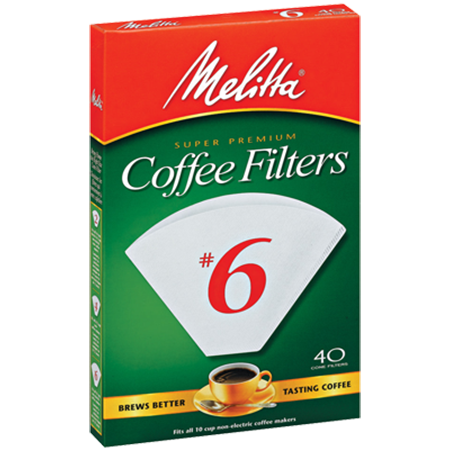 Melitta White Coffee Filters #6