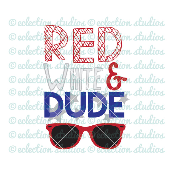 Red White & Dude 4th of July Boy SVG