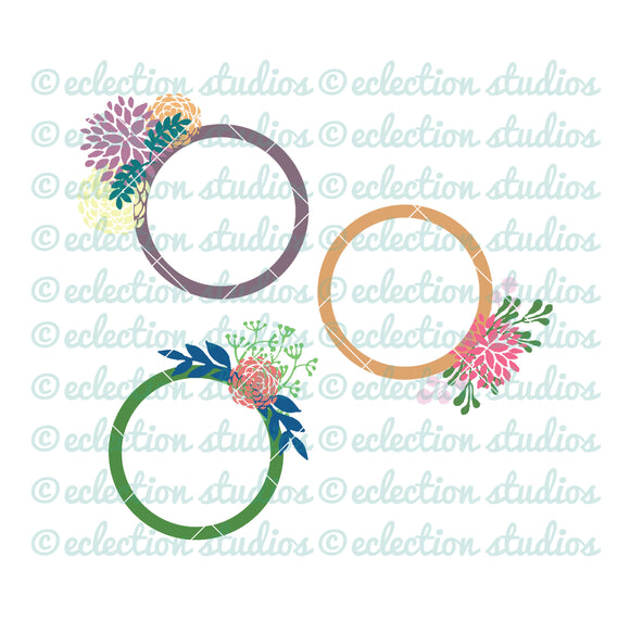 Modern country summer floral monogram circle SVG