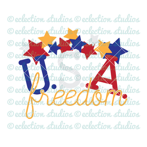 USA freedom with stars 4th of July SVG