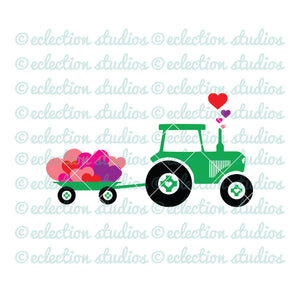 Tractor with wagon of hearts SVG