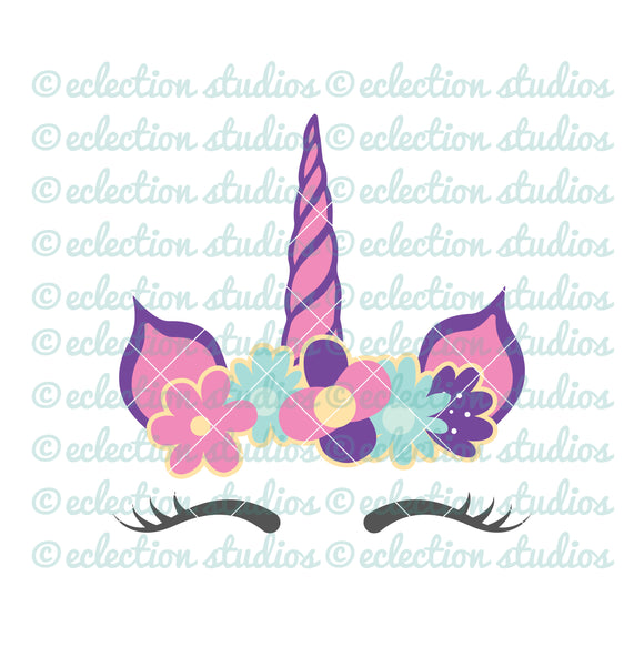 Unicorn horn and ears with flower crown SVG