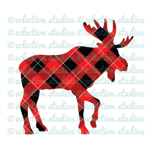 Buffalo Plaid Moose SVG