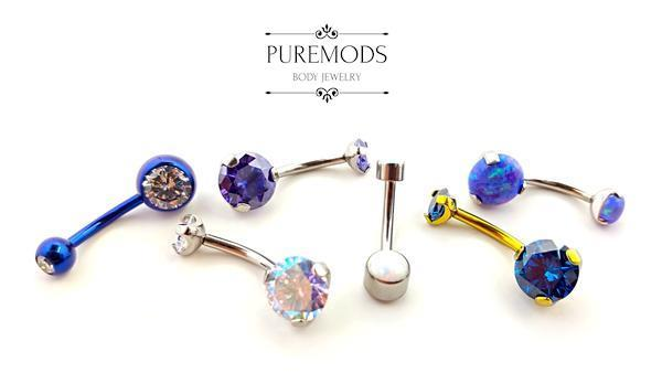 Navels, belly piercing, belly ring, navel ring, internally threaded, high quality, high polish, invictus, pronged, opal, cubic zirconia, synthetic opal, purple, blue, iridescent, ab, sapphire, silver, gold, clear, titanium, implant grade