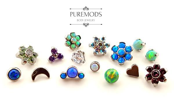 beads, ends, dermal, surface piercing, internally threaded, opal, cubic zirconia, blue, green, purple, silver, clear, dimples, flower, fidget, heart, moon, titanium, implant grade, invictus, puremods, metal mafia, leroi,