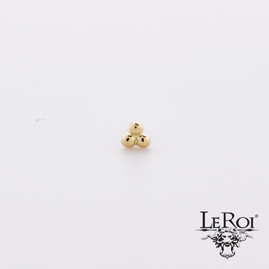 14k Gold 3 Bead Cluster End