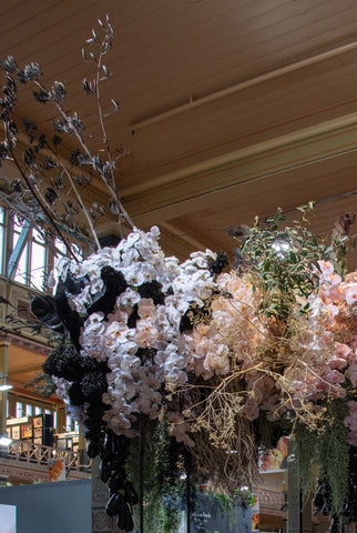 creative floral installation by Flowers Vasette, displayed at Melbourne International Flower & Garden Show 2019 - pampas grass, ferns, palm and orchids look great at the Royal Exhibition Building