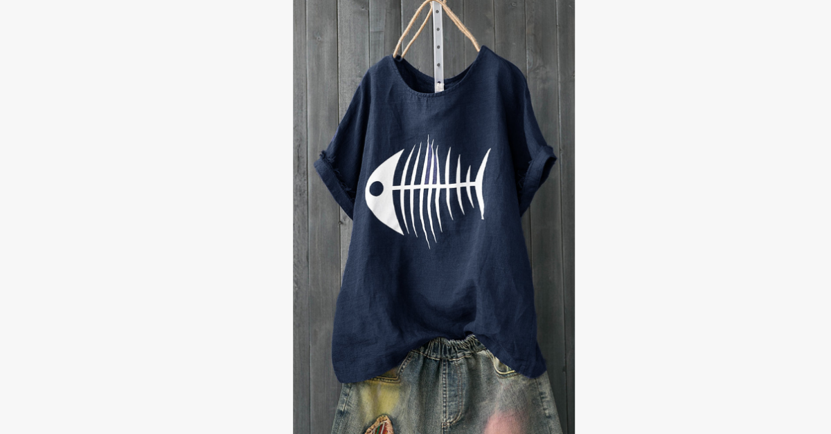Print Fish Bone Casual Cute T-Shirt