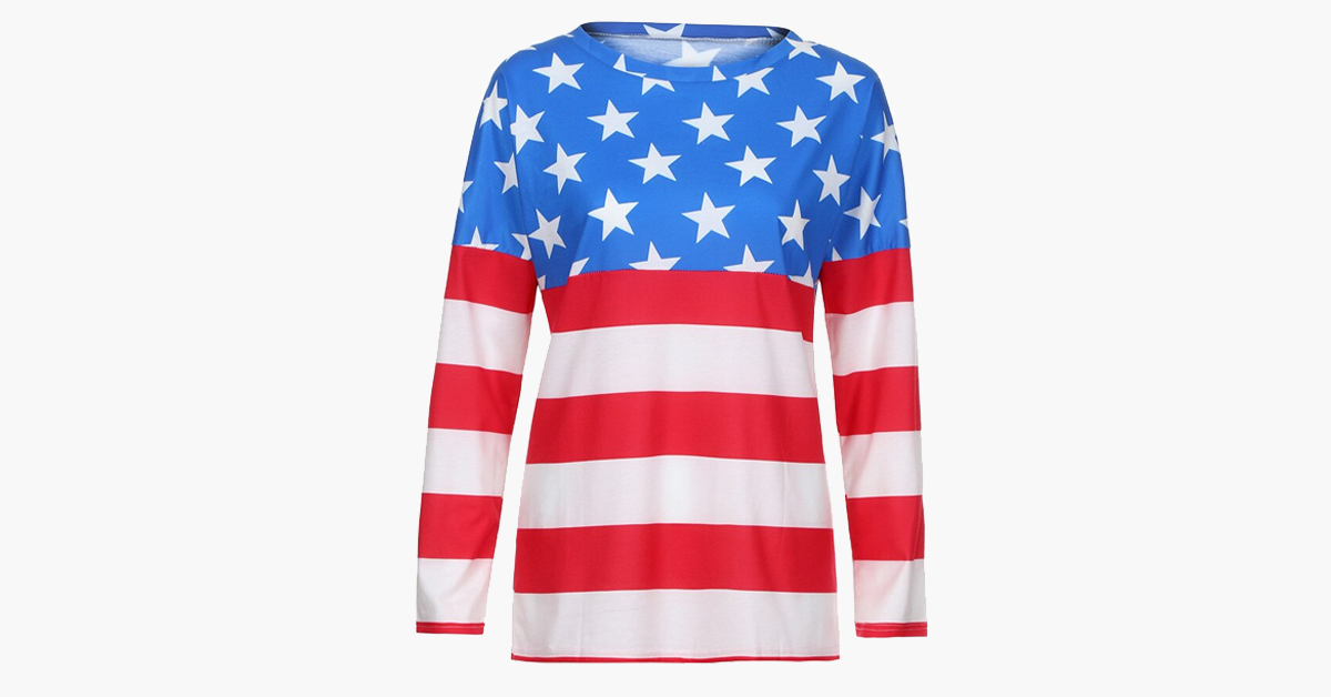 Women's American Flag Off-Shoulder Long Sleeve Shirt