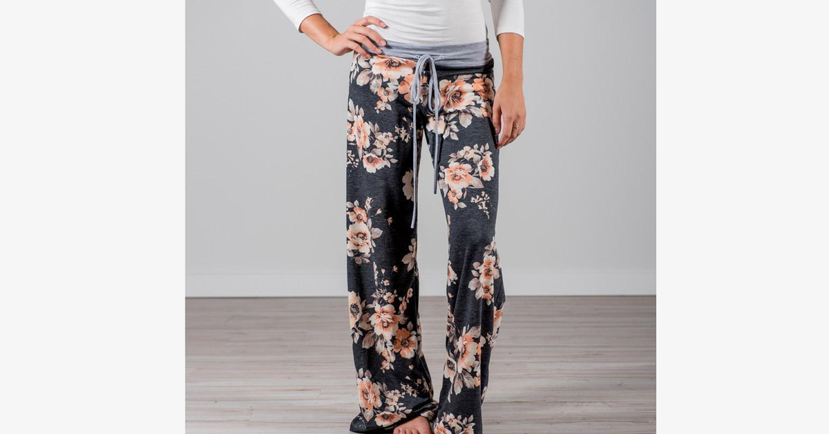 Women's Floral Flare Pants - Plus Sizes Available