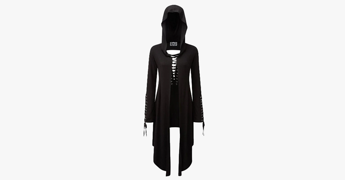 Casual Black Gothic Vintage Long Trench Coat