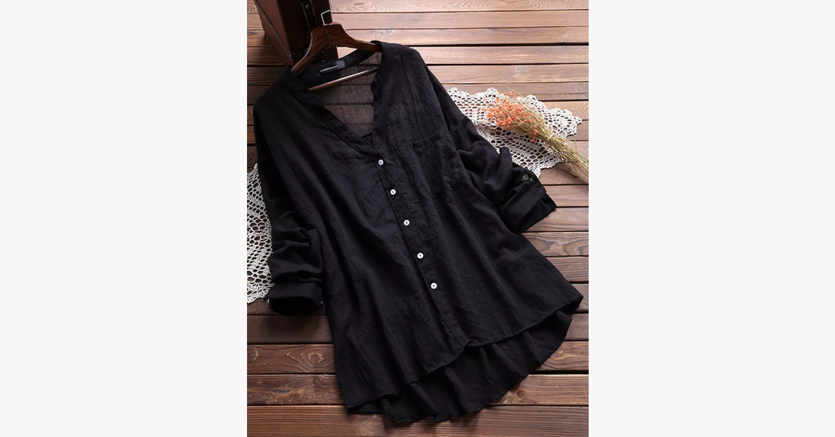 Sheer Long Sleeve Pocket Blouse