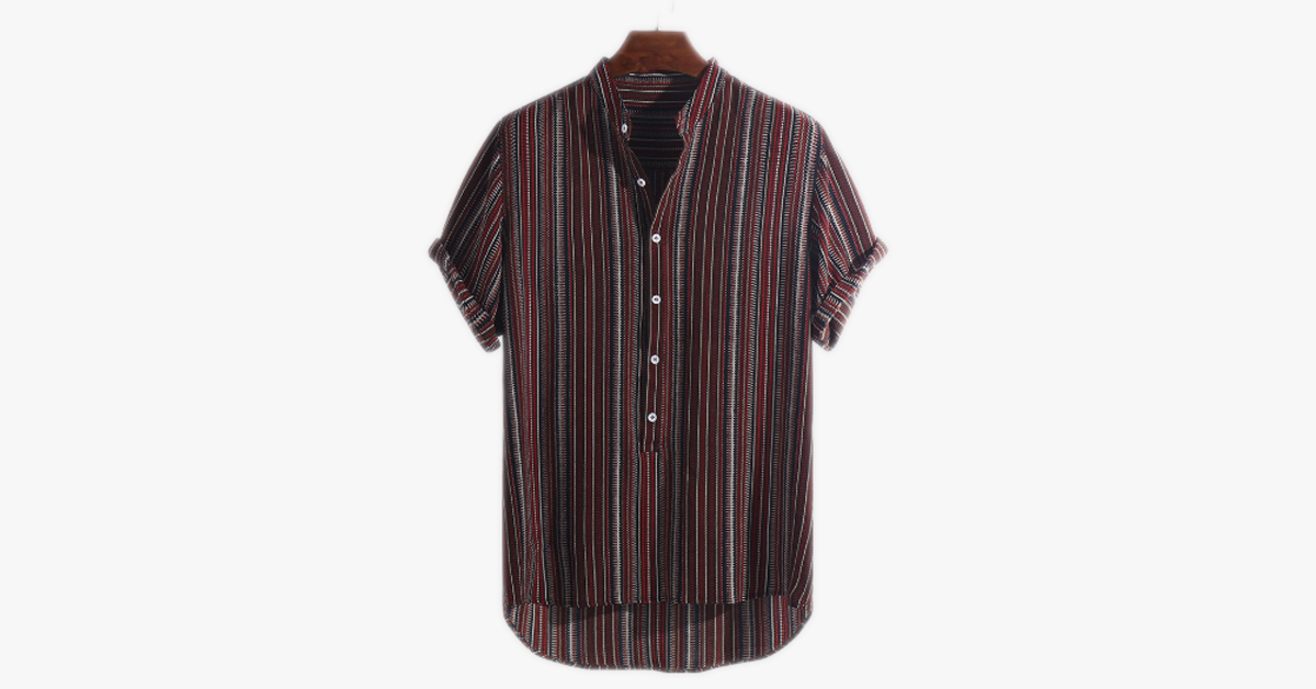 Stripe Stand Collar Short Sleeve Loose Henley Shirt