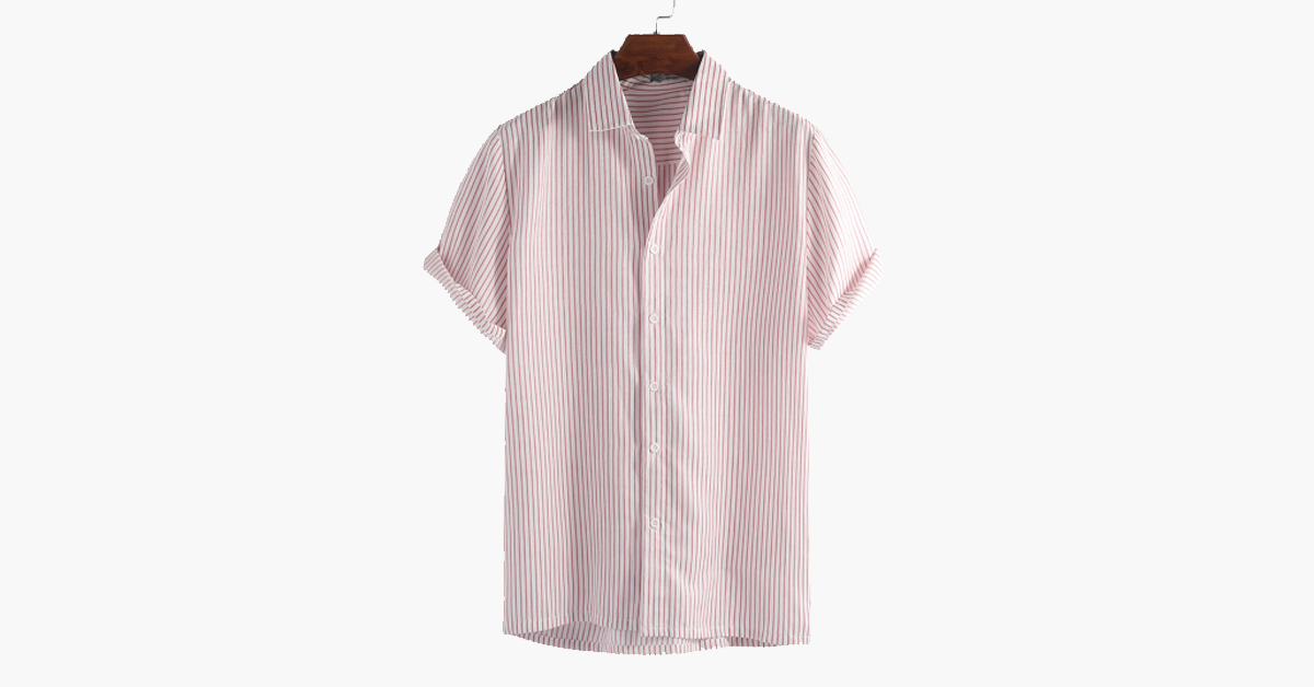 Men's Turn Down Collar Striped Shirt