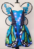 Girls Blue and Green Butterfly Light Up Costume