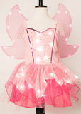 Girls Sparkling Pink Fairy Light Up Costume