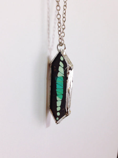 Bluebottle Butterfly Wing Necklace