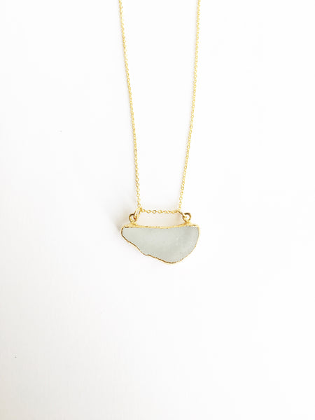 24k Gold Plated Sea Glass Necklace