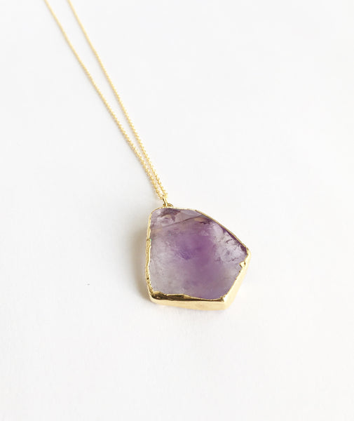 24k Gold Plated Amethyst Necklace
