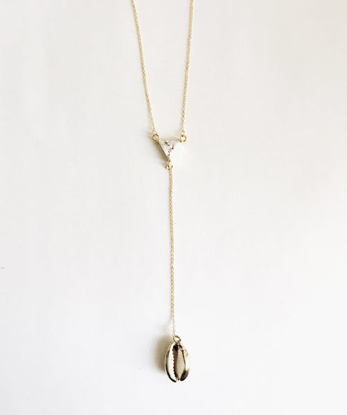 18k Gold Plated Cowrie Shell Necklace with Cubic Zirconia