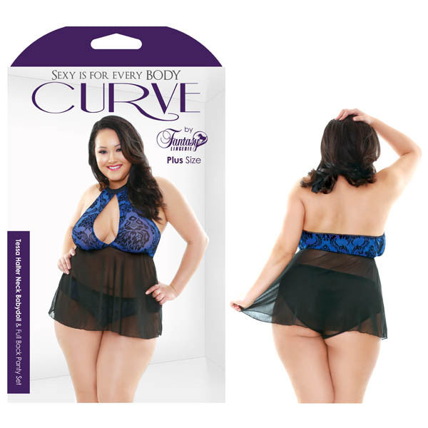 Curve Tessa Halter Neck Babydoll & Full Back Panty Set
