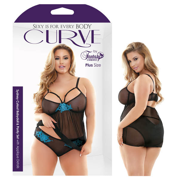 Curve Sydney Cutout Babydoll & Panty Set With Applique Details