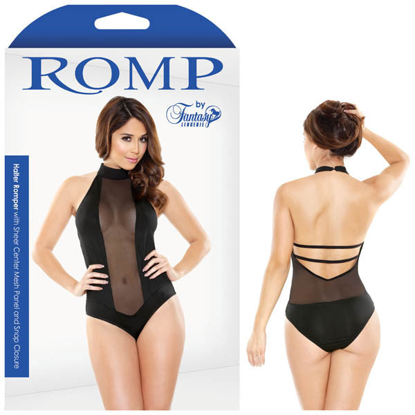 Romp Halter Romper With Sheer Centre Mesh Panel & Snap Closure