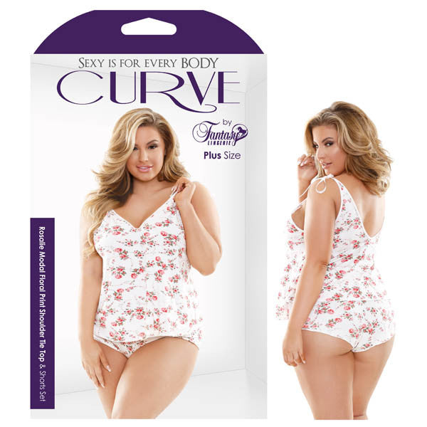 Curve Rosalie Modal Floral Print Shoulder Tie Top & Shorts Set - lovespice69
