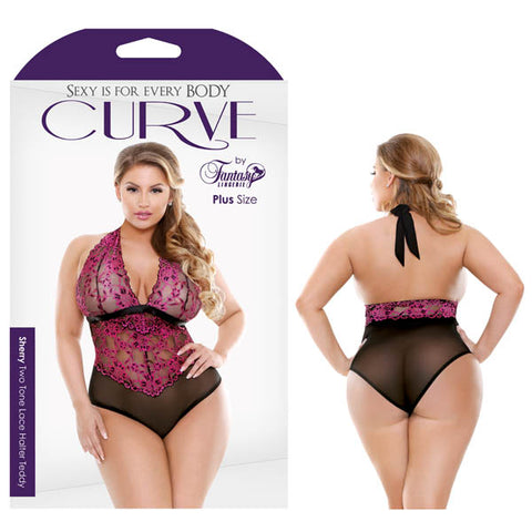 Curve Sherry Two Tone Lace Halter Teddy