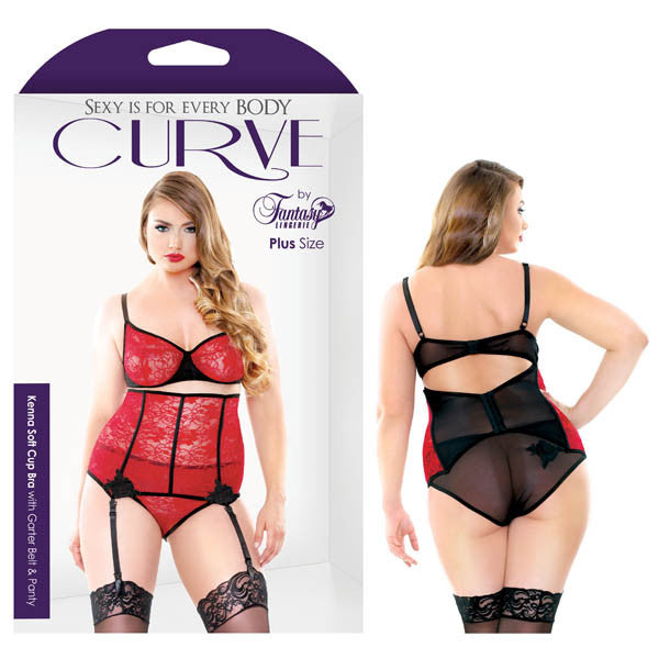 Curve Kenna Soft Cup Bra With Garter Belt & Panty