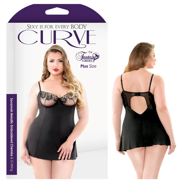 Curve Savannah Metallic Embroidered Chemise & G-string