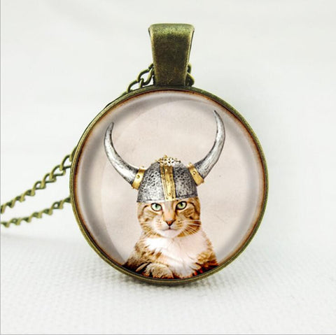 Art Cat Glass Cabochon Necklace Bronze Chain Vintage Choker Statement Necklace